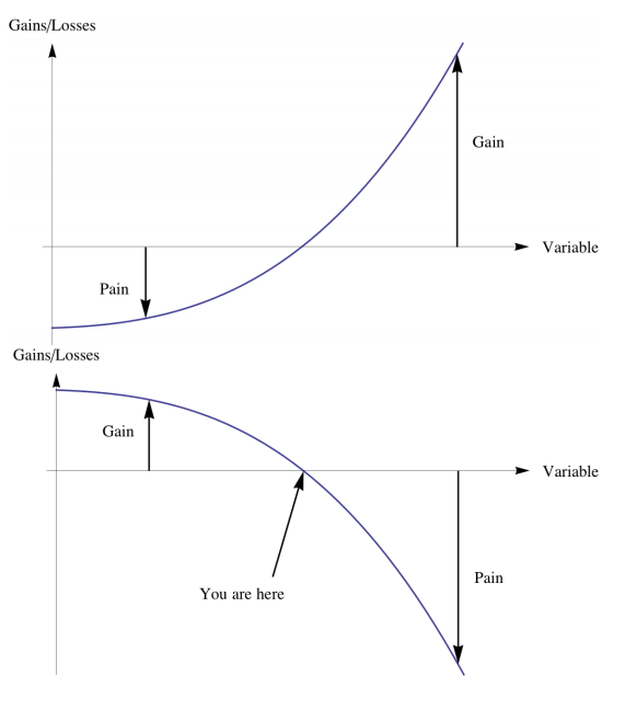This graph illustrates Taleb's concepts of convexity and concavity as they relate to antifragility. The top half is convex. As variability increases, so do gains. The bottom half is concave, as variability increases, so do losses.